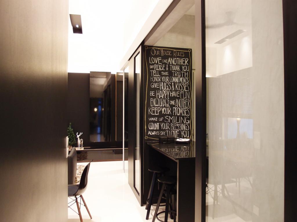 Modern, HDB, The Peak @ Toa Payoh, Interior Designer, Habit, Painting, Glass Sliding Doors, Sliding Doors, Bar Counter, Barstools, Chair, Table, White, Black, Monochrome, Blackboard