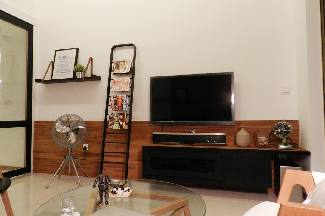 The Waterline, Habit, Transitional, Living Room, Condo, Fan, Tv Console, Coffee Table, Table, Glass Table, Magazine Tray, Wood, Laminate, Wood Laminate, Shelf, Shelves, Box, Cardboard, Carton