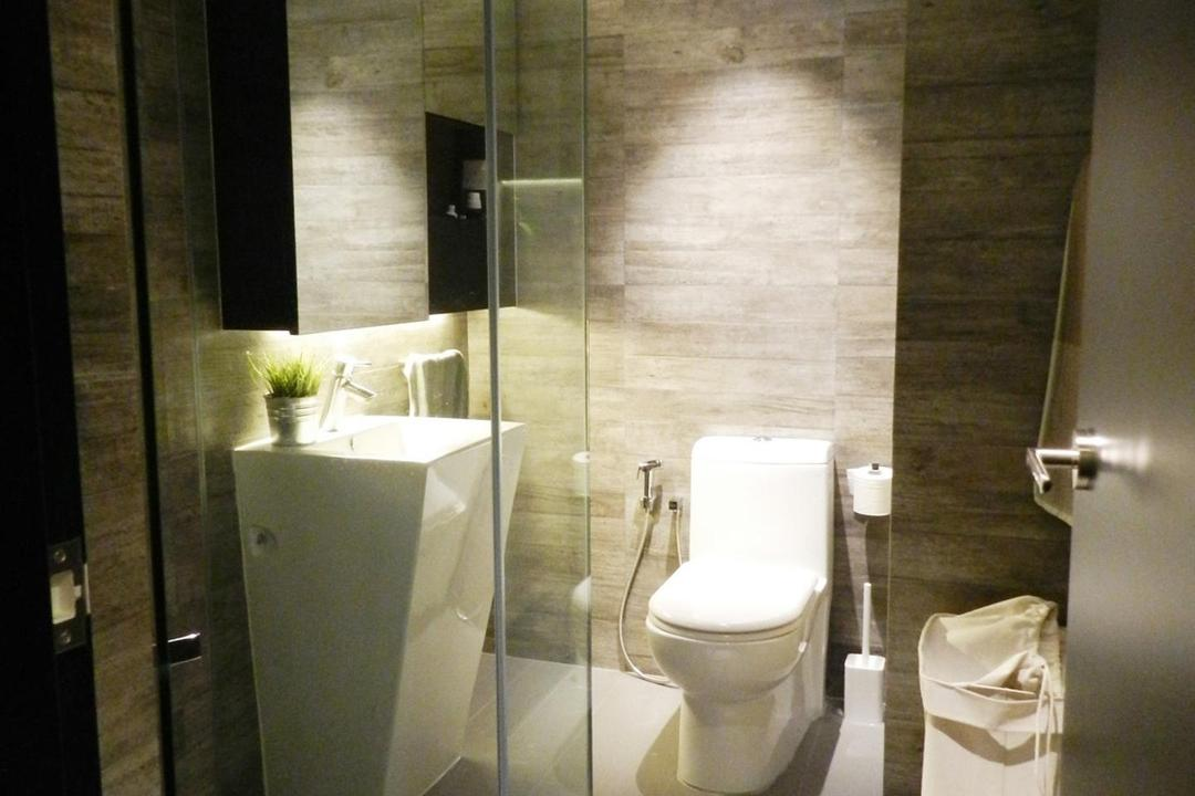 UE Square Residences, Habit, Modern, Bathroom, Condo, Rug, Mat, Parquet Wall, Vessel Sink, Mirror, Concealed Lighting, Bin, Tile, Tiles, Glass Cubicle, Toilet, Indoors, Interior Design, Room
