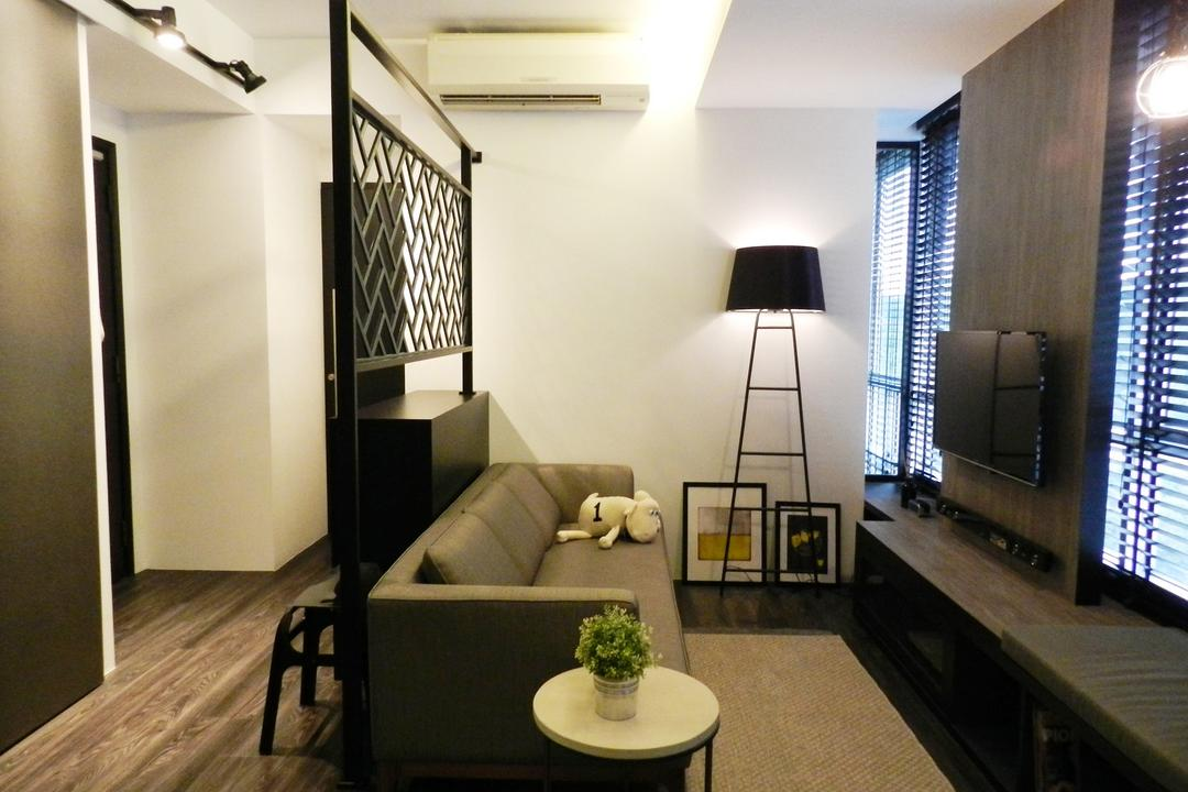 UE Square Residences, Habit, Modern, Living Room, Condo, Small, Spaces, Chair, Furniture, Indoors, Interior Design, Banister, Handrail