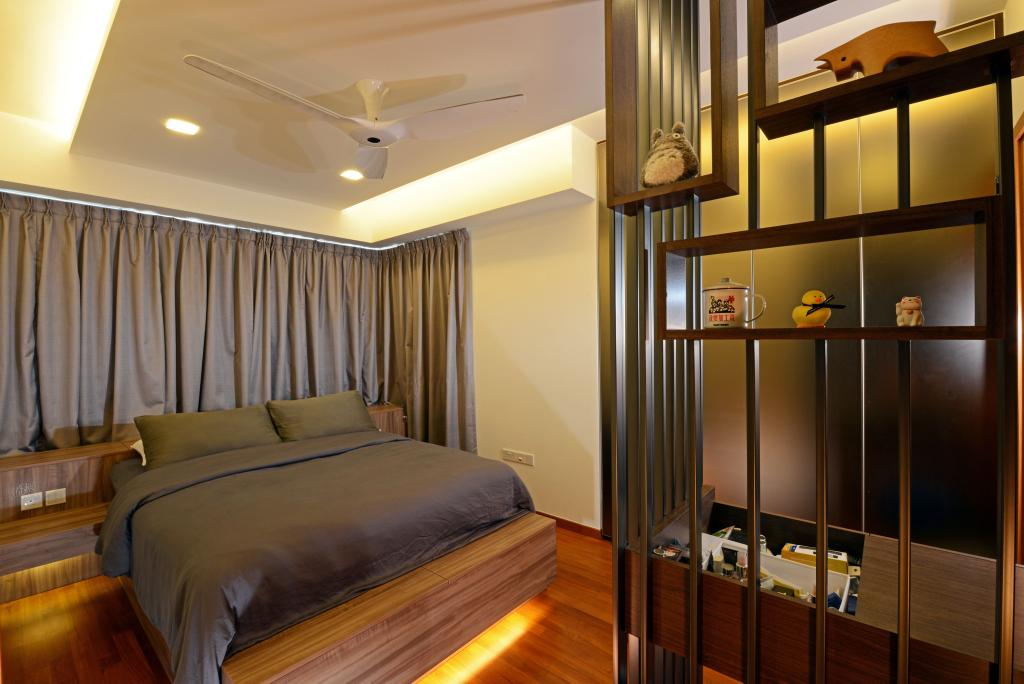 Modern, Condo, Bedroom, Waterbank, Interior Designer, Hall Interiors, Display Unit, Concealed Lighting, Ceiling Fan, Curtains, Platform, Parquet, Wood Laminate, Wood, Laminate, Shelf, Shelves, False Ceiling, Night Stand, Side Table, Table, Storage, Bed, Furniture, Couch, Door, Sliding Door, Indoors, Room