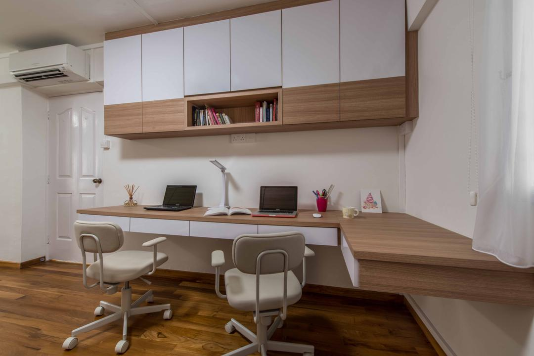 Shunfu Road (Block 307), Project Guru, Minimalistic, Study, HDB, L Shaped Table, Floating Table, Work Desk, Study Desk, Desk, Desk Mount, Wall Mount, Office Table, Office Chair, White, Brown, White And Brown, Book Cabinet, Storage, Bookcase, Display, Chair, Furniture, Dining Room, Indoors, Interior Design, Room