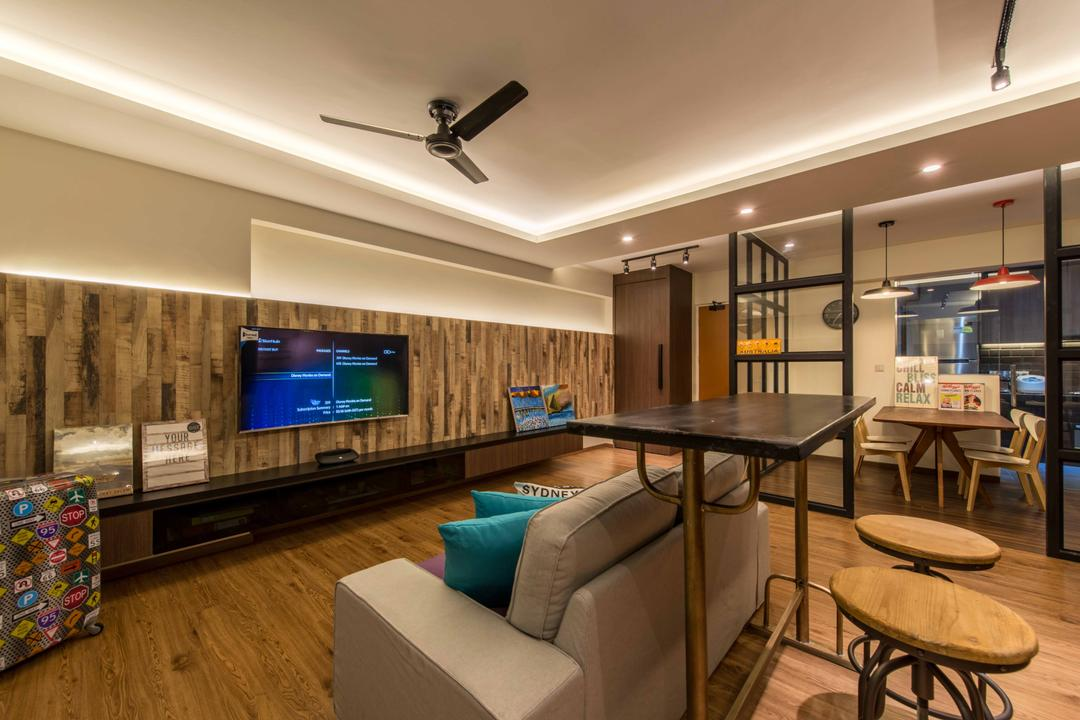 Punggol Field (Block 258C), Project Guru, Scandinavian, Living Room, HDB, Sofa, Bar Top, Bar Stool, Cove Light, Ceiling Fan, Down Light, Glass Panel, Wood Wall, Feature Wall, Tv, Tv Concole, Laminate, Hanging Lights, Track Lights, Couch, Furniture, Dining Table, Table, Indoors, Interior Design