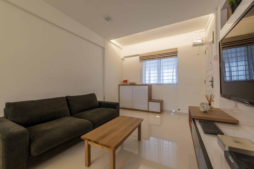 Shunfu Road (Block 307), Project Guru, Minimalistic, Living Room, HDB, Tiles, White Tiles, Simple, Classic, Neutral Colours, Wooden Coffee Table, Shoe Cabinet, Shoe Display, Entrance, Fabric Sofa, Black Sofa, Couch, Furniture, Electronics, Keyboard, Indoors, Room