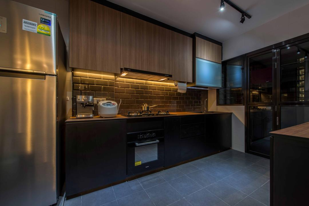 Punggol Field (Block 258C), Project Guru, Scandinavian, Kitchen, HDB, Fridge, Track Lights, Stove, Brack Wall, Cabinets, Dish Rack, Appliance, Electrical Device, Oven, Bathroom, Indoors, Interior Design, Room