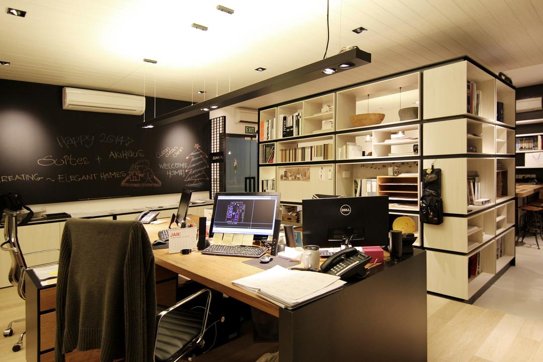 akiHAUS Office, akiHAUS, Modern, Commercial, Chalkboard, High, Back, Office, Leather, Chair, Cabinet, Storage, Shelf, Hollow, Woodwork, Parquet, Flooring, Spotlight, Hanging, Deck, Ceiling, Desk, Furniture, Table, Computer, Electronics, Laptop, Pc, Studio, Indoors