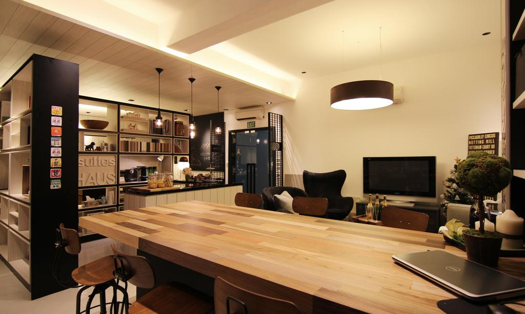 akiHAUS Office, Commercial, Interior Designer, akiHAUS, Modern, Timber, Table, Console, Hanging Light, Tray Ceiling, Shelf, Storage, Hollow, Black, Warm, Dining Table, Furniture, Dining Room, Indoors, Interior Design, Room, Wood
