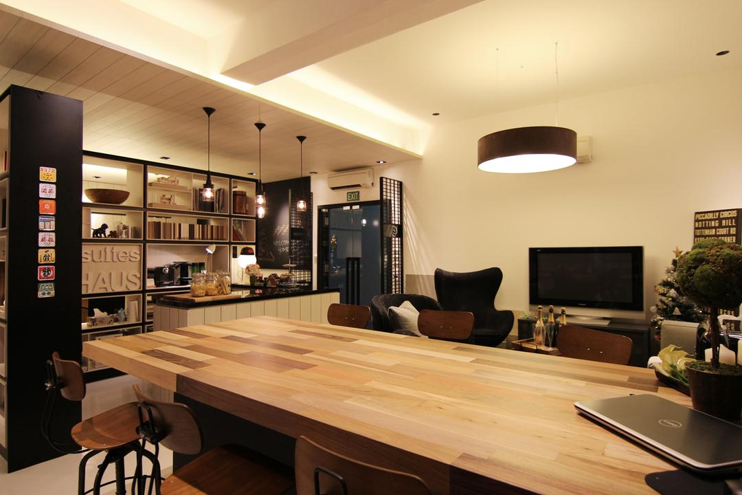 akiHAUS Office, akiHAUS, Modern, Commercial, Timber, Table, Console, Hanging Light, Tray Ceiling, Shelf, Storage, Hollow, Black, Warm, Dining Table, Furniture, Dining Room, Indoors, Interior Design, Room, Wood