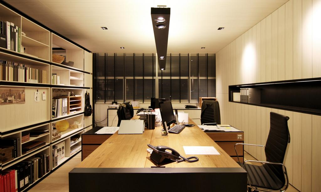 akiHAUS Office, Commercial, Interior Designer, akiHAUS, Modern, Spotlight, Hanging Light, Shelf, Storage, Books, Parquet, High, Back, Ribbed, Office, Chair, Long Desk, Cabinet, Laminate, Furniture, Conference Room, Indoors, Meeting Room, Room