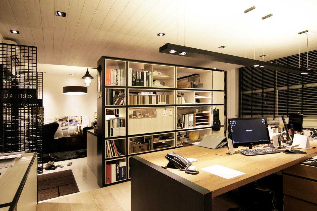 akiHAUS Office, akiHAUS, Modern, Commercial, Grille, Parquet, Flooring, Long Desk, Hanging, Spotlight, Shelf, Storage, Woodwork, Rug, White, Deck, Ceiling, Desk, Furniture, Table, Bookcase, Computer, Electronics, Pc