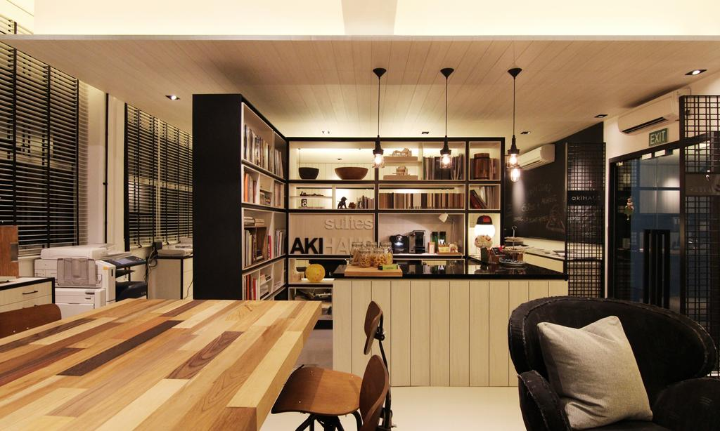 akiHAUS Office, Commercial, Interior Designer, akiHAUS, Modern, Timber, Desk, Armchair, Black, Countertop, Pendant Light, Hanging Light, Deck, Ceiling, Hollow, Shelf, Storage, Books, Grille, Couch, Furniture, Dining Table, Table, Chair, Dining Room, Indoors, Interior Design, Room