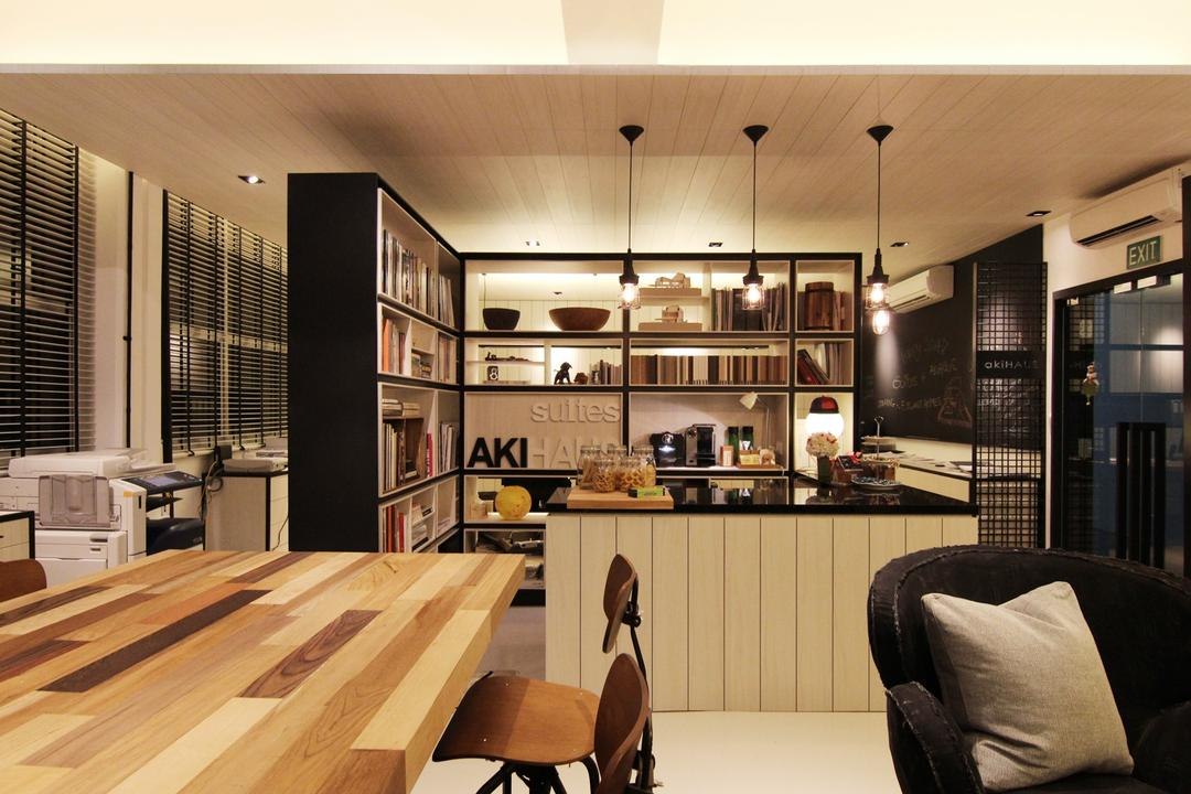 akiHAUS Office, akiHAUS, Modern, Commercial, Timber, Desk, Armchair, Black, Countertop, Pendant Light, Hanging Light, Deck, Ceiling, Hollow, Shelf, Storage, Books, Grille, Couch, Furniture, Dining Table, Table, Chair, Dining Room, Indoors, Interior Design, Room