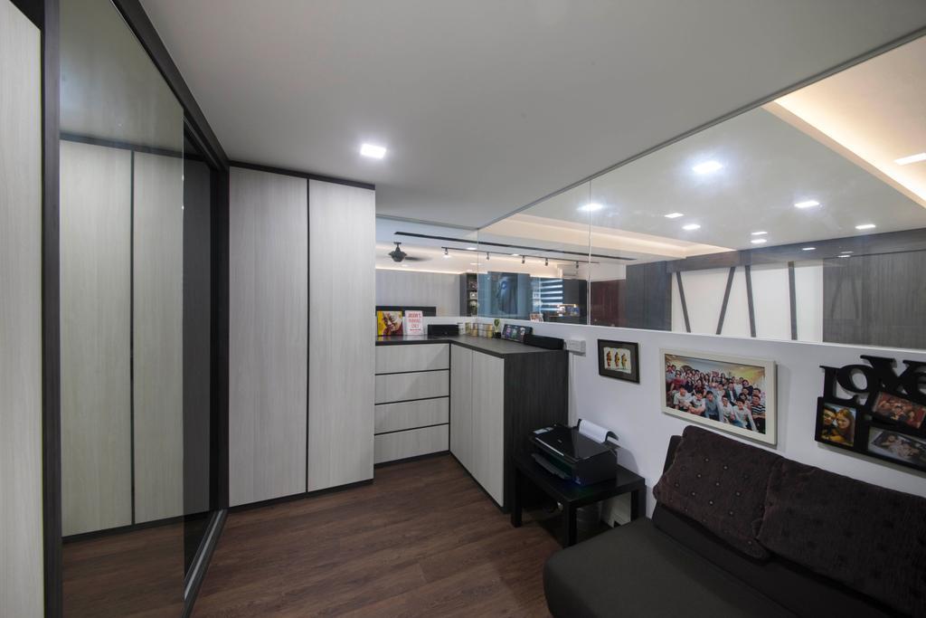 Transitional, HDB, Study, Hougang, Interior Designer, Edge Interior, Downl Ight, Cupboard, Mirror, Sliding Door, Drawers, Sofa, Wood Floor, Art, Art Gallery
