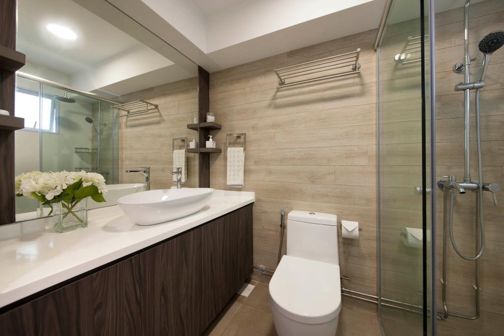 Transitional, HDB, Bathroom, Hougang, Interior Designer, Edge Interior, Shower Screen, Shower, Towel Rack, Toilet Bowl, Sink, Mirror, Wall Tiles, Toilet, Indoors, Interior Design, Room
