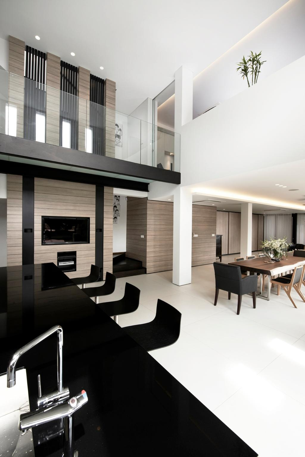 Modern, Landed, Dining Room, Chu Lin Road, Interior Designer, akiHAUS, Black, White, Monochrome, Wood, Wall, Panel, Tile, Floor, Pillar, Concealed Lighting, Bar Chair, Plant, Dining Table, Furniture, Table, Fireplace, Hearth, Indoors, Interior Design, Room