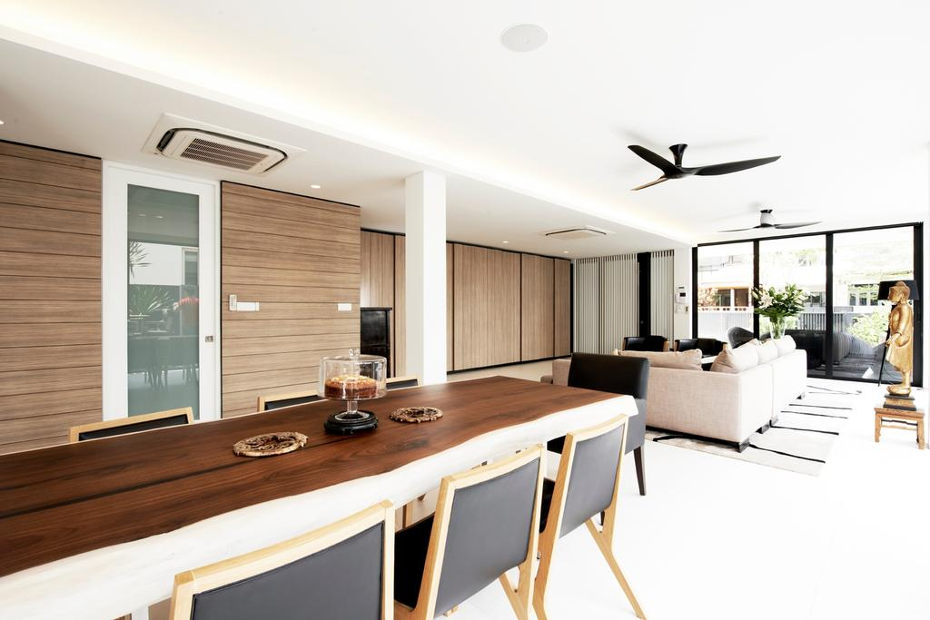 Modern, Landed, Dining Room, Chu Lin Road, Interior Designer, akiHAUS, Timber Table, Chair, Wood, Panel, Wall, Ceiling Fan, Statue, Full Length Window, Glass, Sofa, Laminate, Monochrome, Neutral, Desk, Furniture, Table, Dining Table, Indoors, Interior Design
