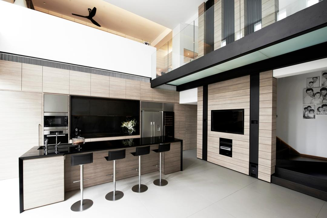 Chu Lin Road, akiHAUS, Modern, Kitchen, Landed, Black, Bar Chair, Tile, Wood, Wall, Panel, Step, Laminate, Grille, Sectional Countertop, Minimalist, Indoors, Interior Design, Electronics, Entertainment Center