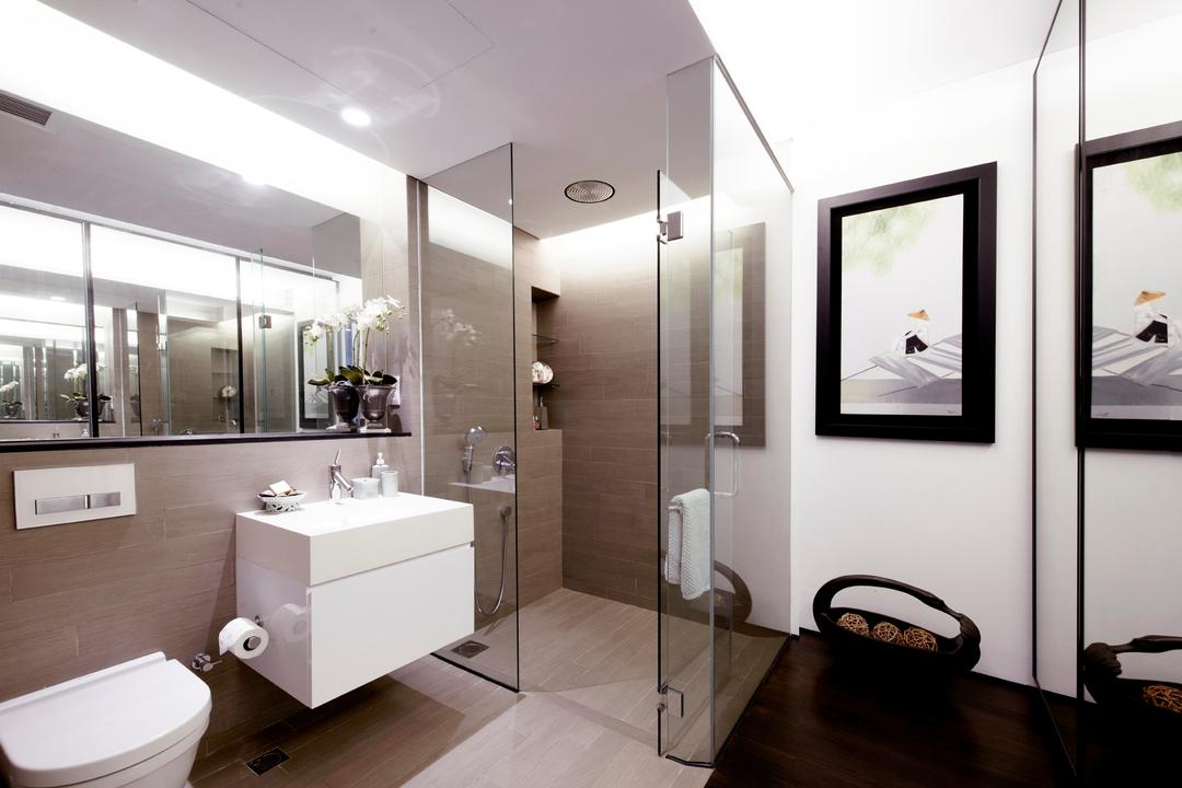 Chu Lin Road, akiHAUS, Modern, Bathroom, Landed, Parquet, Floor, Glass, Full Length, Picture, Mirror, Floating Sink, Toekick, Recessed Shelf, Storage, Indoors, Interior Design, Room, Corridor