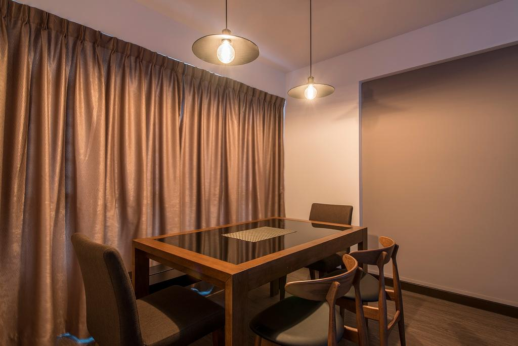 Transitional, HDB, Dining Room, Yishun Street 51, Interior Designer, Ace Space Design, Dining Lights, Hanging Lights, Dining Table, Dining Chairs, Curtain, Couch, Furniture, Chair, Indoors, Interior Design, Room, Conference Room, Meeting Room, Table