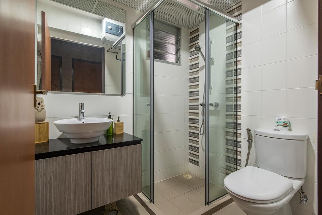 Transitional, HDB, Bathroom, Yishun Street 51, Interior Designer, Ace Space Design, Shower Screen, Toilet Bowl, Sink, Cabinets, Mirror, Toilet, Indoors, Interior Design, Room