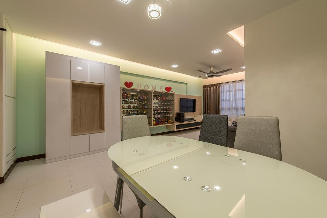 Punggol Way, Ace Space Design, Contemporary, Dining Room, HDB, Dining Table, Dining Chair, Cabinets, Glass Diplay, Down Light, Cove Light, Ceiling Fan, Tv, Tv Console, Couch, Furniture, Basement, Indoors, Room, Bathroom, Interior Design, Conference Room, Meeting Room