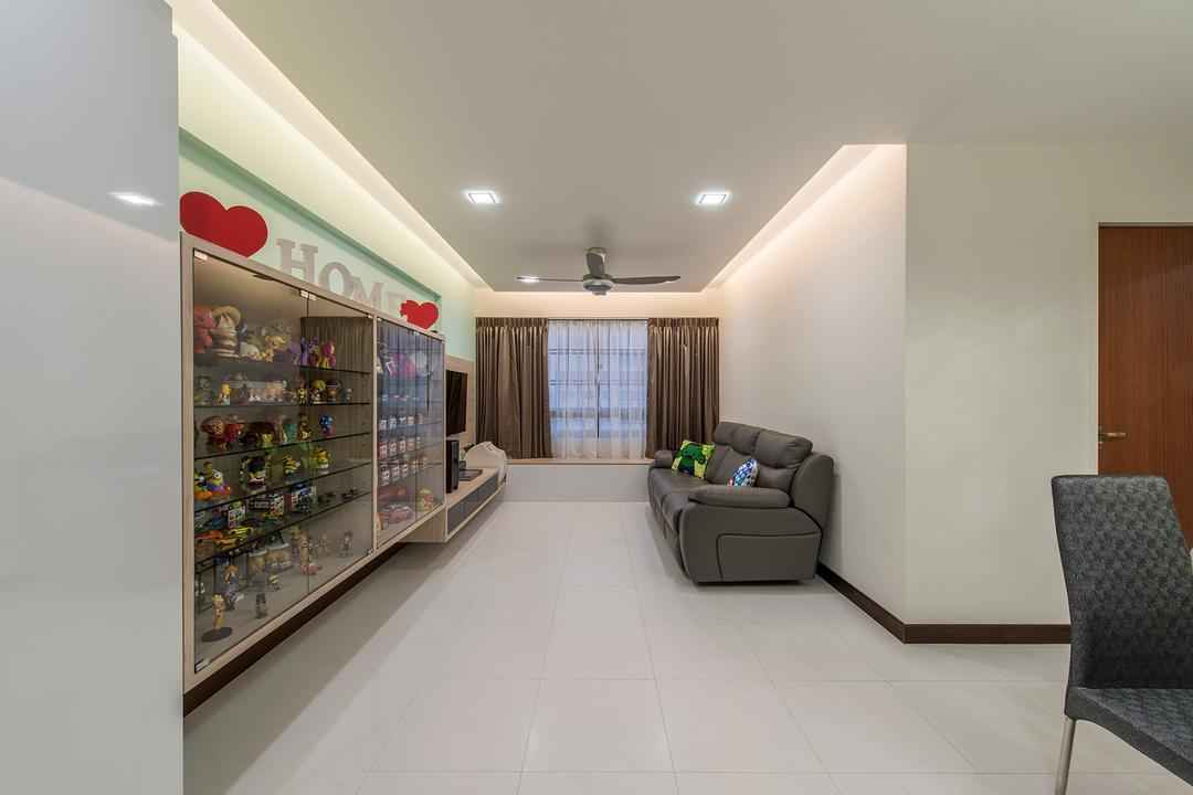 Punggol Way, Ace Space Design, Contemporary, Living Room, HDB, Glass Cabinet, Tiles, Sofa, Down Light, Cove Light, Ceiling Fan, Curtain, Indoors, Room, Chair, Furniture