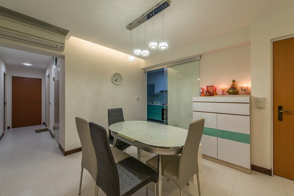 Contemporary, HDB, Dining Room, Punggol Way, Interior Designer, Ace Space Design, Dining Table, Dining Chiars, Cabinets, Dining Lights, Cove Light, Chair, Furniture, Indoors, Interior Design, Room