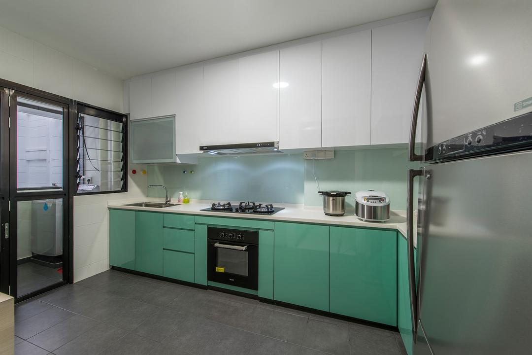 Punggol Way, Ace Space Design, Contemporary, Kitchen, HDB, Fridge, Stove, Oven, Cabinet, Drawers, Dish Rack, Indoors, Interior Design, Room