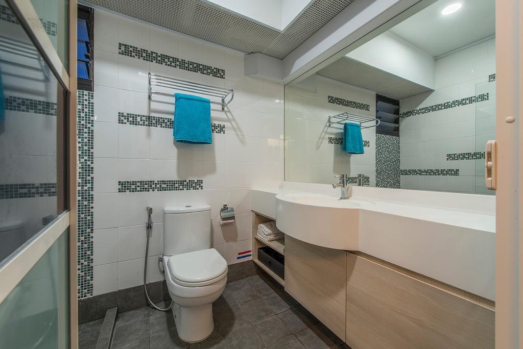Contemporary, HDB, Bathroom, Punggol Way, Interior Designer, Ace Space Design, Toilet Bowl, Mirror, Towle Rack, Sink, Toilet
