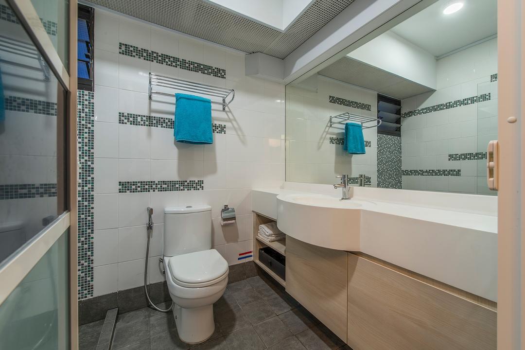 Punggol Way, Ace Space Design, Contemporary, Bathroom, HDB, Toilet Bowl, Mirror, Towle Rack, Sink, Toilet