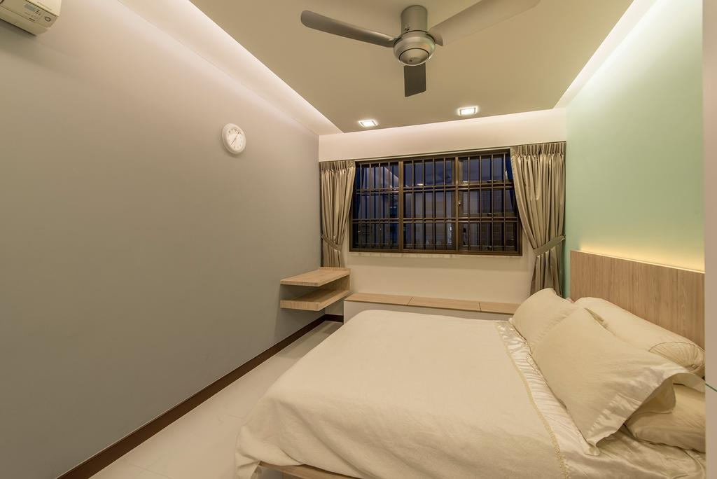 Contemporary, HDB, Bedroom, Punggol Way, Interior Designer, Ace Space Design, Ceilng Fan, Curtain, Bed Frame, Cove Light, Down Light, Indoors, Interior Design, Room