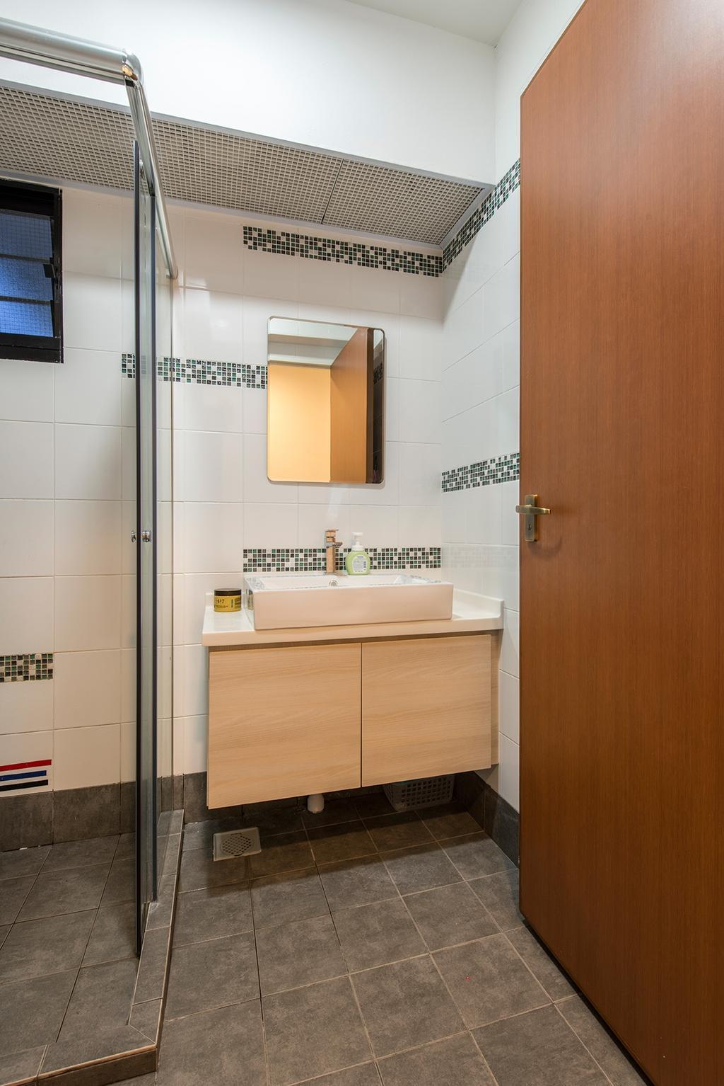 Contemporary, HDB, Bathroom, Punggol Way, Interior Designer, Ace Space Design, Shower Screen, Sink, Cabinet, Mirror, Indoors, Interior Design