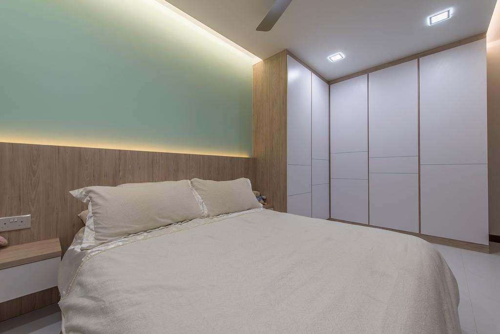 Contemporary, HDB, Bedroom, Punggol Way, Interior Designer, Ace Space Design, Wardrobe, Cupboard, Bed Frame, Cove Light, Bed, Side Table, Down Light, Furniture, Indoors, Interior Design, Room