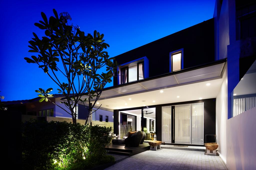 Modern, Landed, Garden, Chu Lin Road, Interior Designer, akiHAUS, Tree, Outdoor, Exterior, Porch, Bench, Full Length Window, Glass, Lawn, Tile, Spotlight, Building, House, Housing, Villa, Lighting