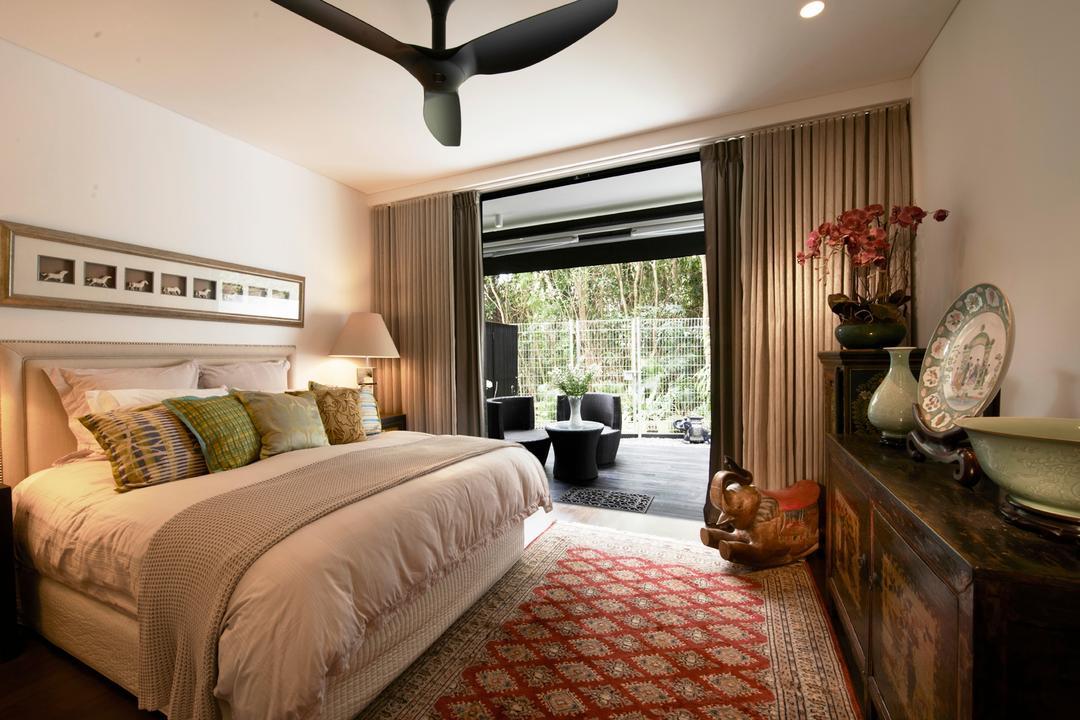 Chu Lin Road, akiHAUS, Modern, Bedroom, Landed, Ceiling Fan, Rug, Oriental, Flower, Vase, Cupboard, Chest, Storage, Porcelain, Painting, Lamp, Balcony, Indoors, Interior Design, Room, Carpet, Home Decor