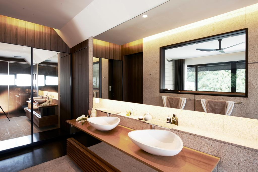 Modern, Landed, Bathroom, Chu Lin Road, Interior Designer, akiHAUS, Mirror, Basin, Recessed Storage, Cabinet, Sink, Glass, Wood, Panel, Concealed Lighting, Ceramic Tile, Indoors, Interior Design, Room, Flooring