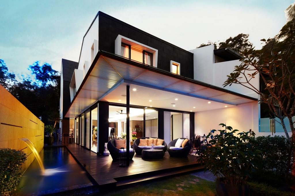 Modern, Landed, Garden, Chu Lin Road, Interior Designer, akiHAUS, Outdoor, Exterior, Evening, Porch, Deck Flooring, Lawn, Water Feature, Full Length Windows, Woven Outdoor Chair, Coffee Table, Flora, Jar, Plant, Potted Plant, Pottery, Vase, Building, House, Housing, Villa, Indoors, Room