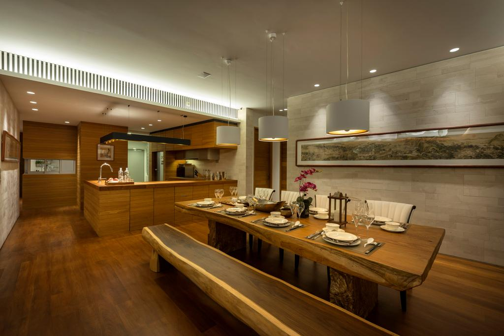 Traditional, Condo, Dining Room, Oceanfront, Interior Designer, akiHAUS, Hanging Light, Long Bench, Wood, Nature, Zen, Parquet, Woodwork, Rock, Wall, Wood Flooring, Painting, Dining Table, Furniture, Table, Indoors, Interior Design, Room
