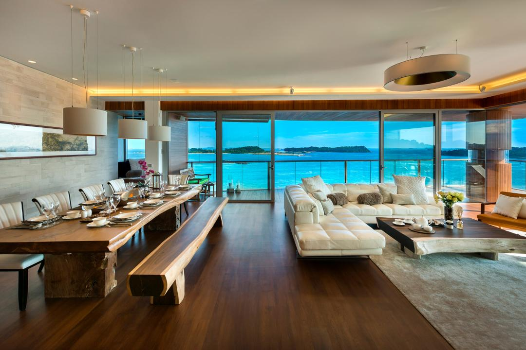 Oceanfront, akiHAUS, Traditional, Living Room, Condo, Long Table, Wood, Parquet, Flooring, Sofa, Rug, Coffee Table, Hanging Light, Concealed Lighting, Painting, Seaview, Hardwood, Indoors, Interior Design, Furniture, Table, Dining Table, Plywood, Dining Room, Room