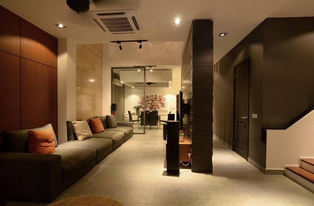 Contemporary, Landed, Living Room, Seri Tanjung Pinang, Interior Designer, Grazioso Design, Couch, Furniture, Corridor
