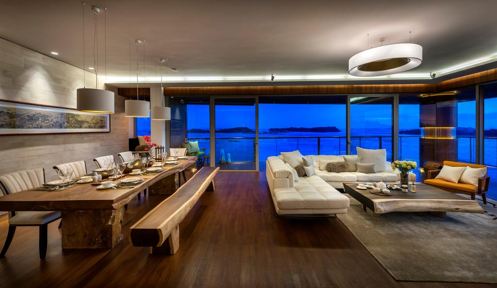 Traditional, Condo, Living Room, Oceanfront, Interior Designer, akiHAUS, Painting, Wood, Nature, Zen, Parquet, Woodwork, Carpentry, Rug, Flooring, Seaview, Full Legnth Window, Glass, Hanging Light, Sofa, Indoors, Interior Design, Room, Dining Table, Furniture, Table, Plywood