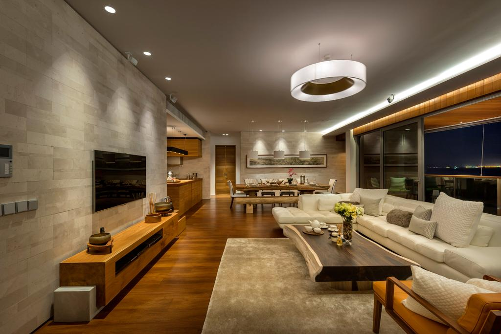 Traditional, Condo, Living Room, Oceanfront, Interior Designer, akiHAUS, Parquet, Hanging Light, Feature, Wall, Coffee Table, Zen, Console, Recessed Lighting, Sofa, Rug, Couch, Furniture, Restaurant, Indoors, Room