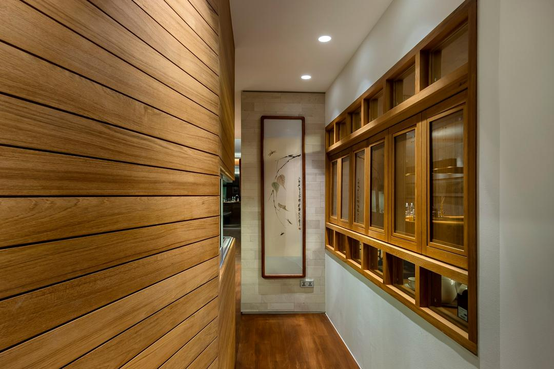 Oceanfront, akiHAUS, Traditional, Condo, Walkway, Parquet, Flooring, Wood, Panel, Wall, Woodwork, Rotating Window, Glass, Painting, Recessed Ceiling Lamp, Indoors, Interior Design