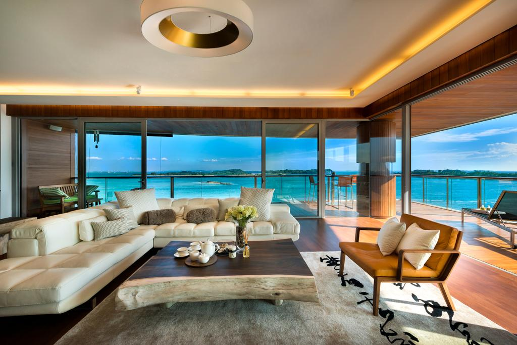 Traditional, Condo, Living Room, Oceanfront, Interior Designer, akiHAUS, Tray Ceiling, Concealed Lighting, Rug, Coffee Table, Sofa, Bench, Balcony, Seaview, Full Length Window, Glass, Hanging Light, Couch, Furniture, Chair, Dining Room, Indoors, Interior Design, Room, HDB, Building, Housing