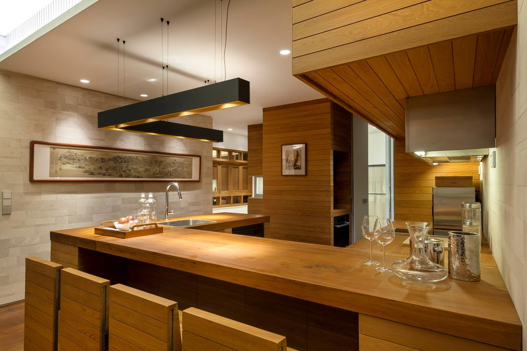 Oceanfront, akiHAUS, Traditional, Dining Room, Condo, Wood, Chair, Tabletop, Parquet, Woodwork, Carpentry, Hanging Light, Ventilator, Painting, Hidden, Space Saving, Sink, Dining Table, Furniture, Table, Indoors, Interior Design, Kitchen, Room