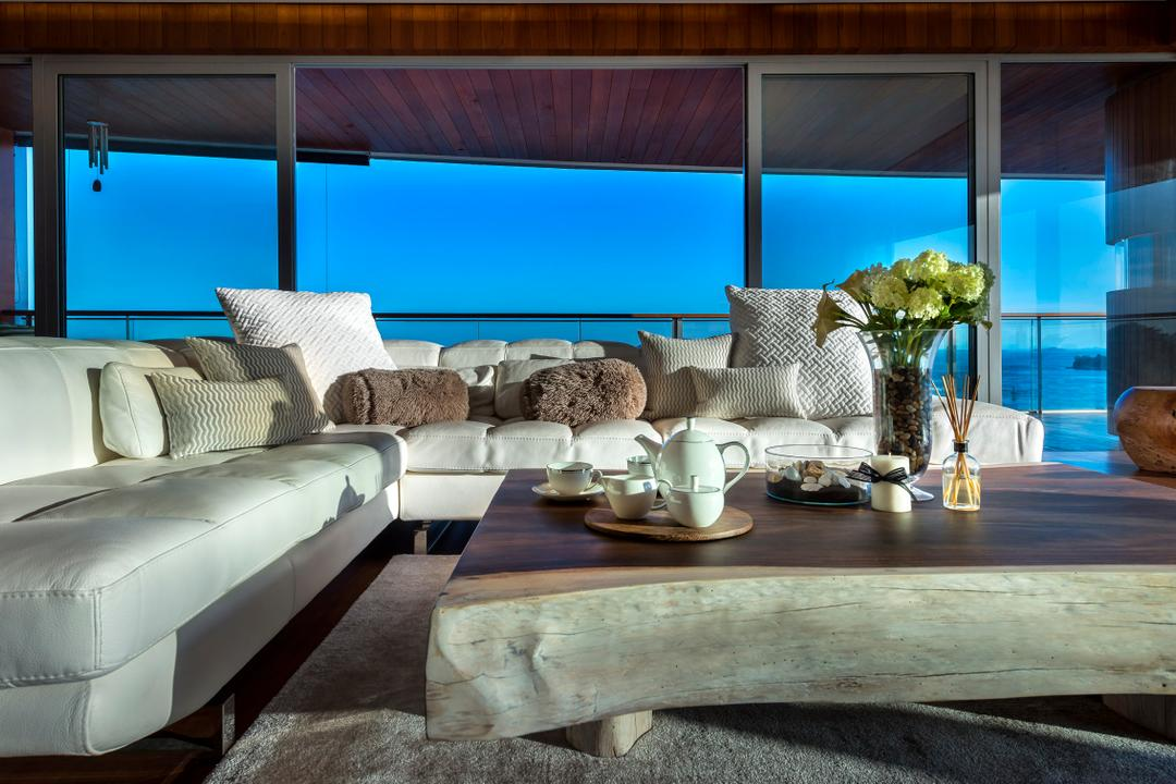 Oceanfront, akiHAUS, Traditional, Living Room, Condo, Deck, Ceiling, White, Leather, Sofa, Coffee, Table, Flower, Vase, Full Length Window, Rug, Nature, Chair, Furniture, Couch