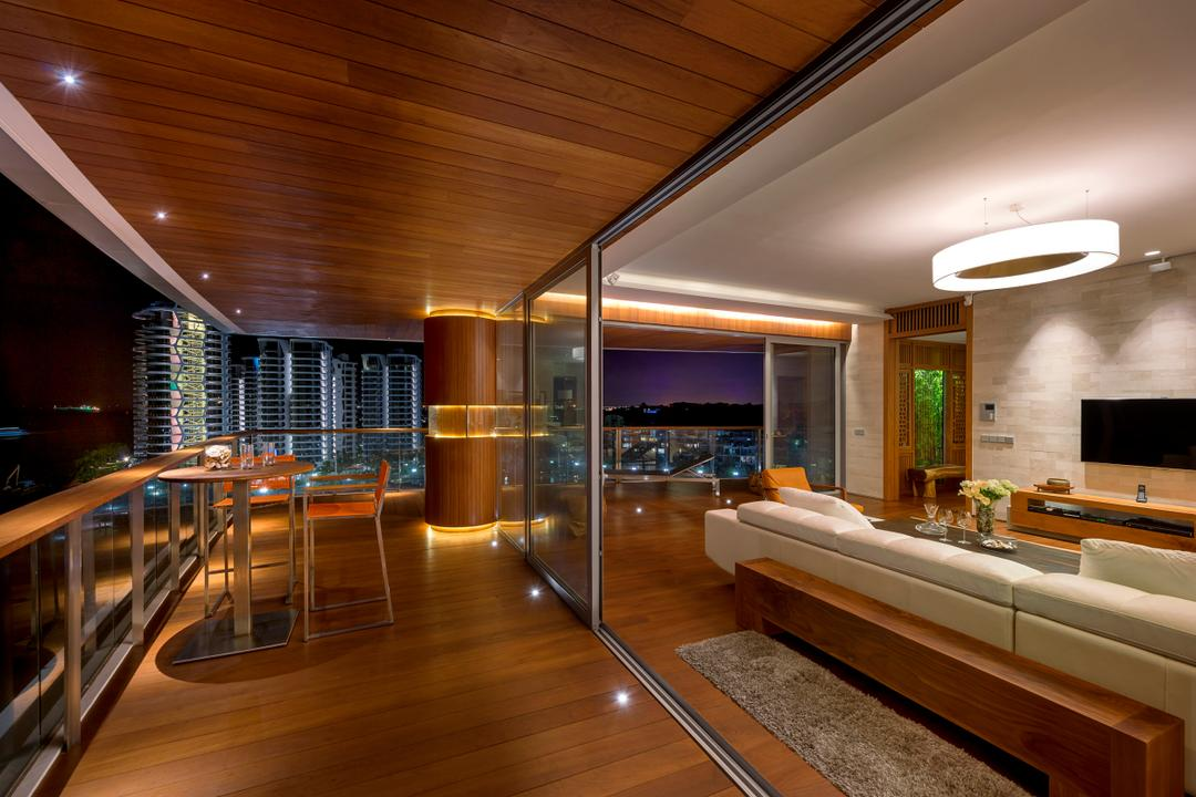 Oceanfront, akiHAUS, Traditional, Balcony, Condo, Outdoor, Exterior, Parquet, Rug, Sofa, Recessed Lighting, Seaview, Hanging Light, Pillar, Sliding, Glass, Door, Panel, Indoors, Interior Design
