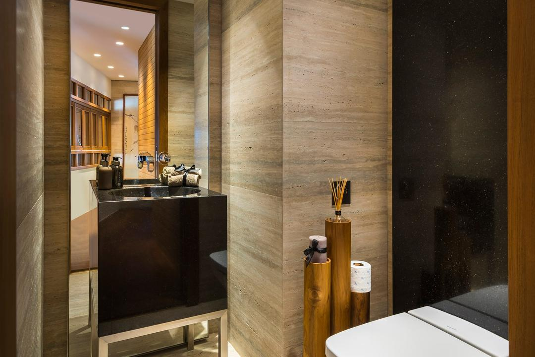 Oceanfront, akiHAUS, Traditional, Bathroom, Condo, Polished Granite, Black, Wall, Full Length Mirror, Marble, Luxury, Zen, Sink, Basin, Indoors, Interior Design, Appliance, Electrical Device, Oven