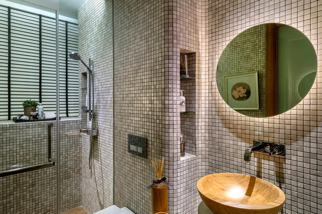 Oceanfront, akiHAUS, Traditional, Bathroom, Condo, Mosaic, Tile, Glass, Venetian Blinds, Wood, Panel, Sink, Nature, Zen, Mirror, Concealed Lighting