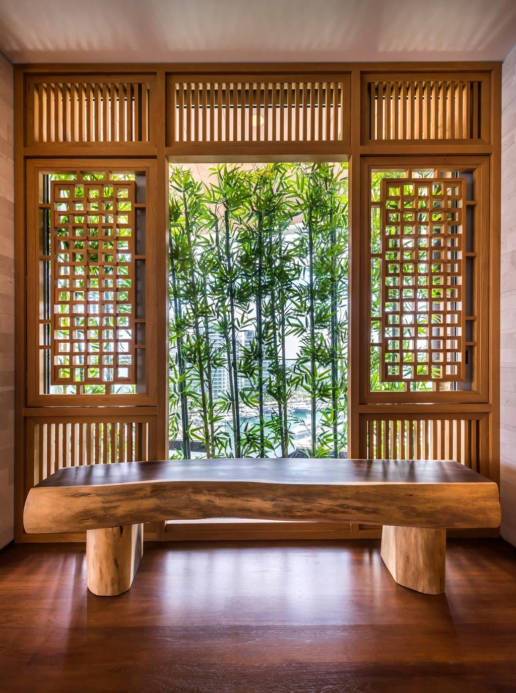 Traditional, Condo, Oceanfront, Interior Designer, akiHAUS, Oriental, Wood, Bench, Woodwork, Sliding Window, Parquet, Plant, Window, Tree, Nature, Bamboo, Flora